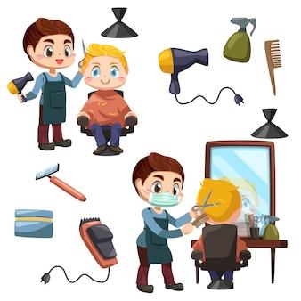 Conjunto de jovem barbeiro profissional cortando o cabelo de uma cliente com uma tesoura na barbearia