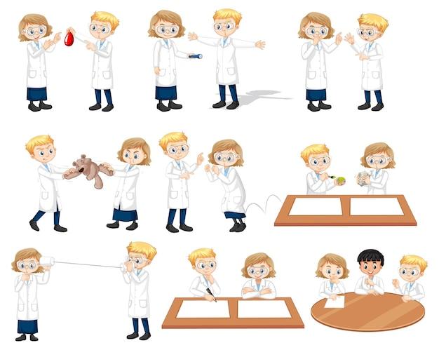 Conjunto de jovem cientista em diferentes poses de personagem de desenho animado