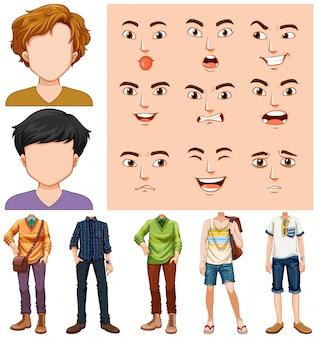 Conjunto de jovem com expressão facial diferente