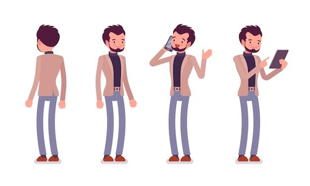 Conjunto de jovem dândi em poses de pé, traseira, vista frontal