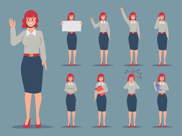 Conjunto de jovem empresária bonita trabalhadora de escritório