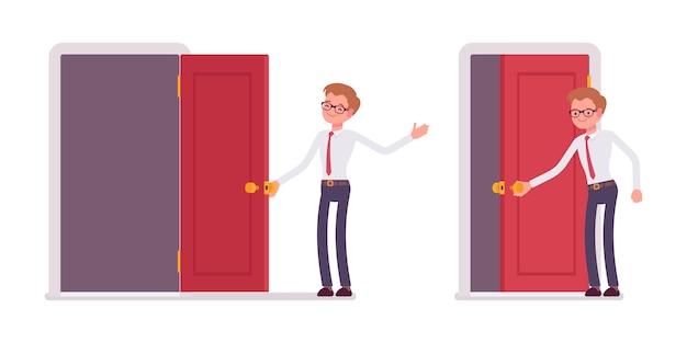 Conjunto de jovem funcionário masculino, abrindo e fechando a porta