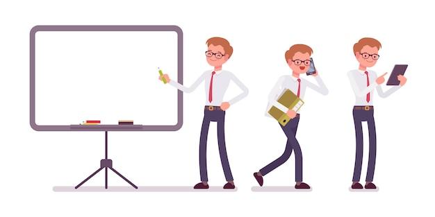 Conjunto de jovem funcionário masculino em cenas de escritório, poses de pé