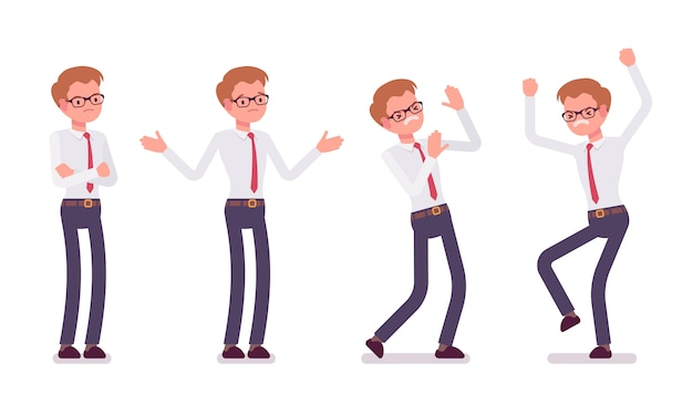 Conjunto de jovem funcionário masculino mostrando emoções negativas, vista frontal