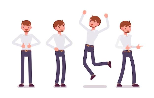 Conjunto de jovem funcionário masculino mostrando emoções positivas vista frontal