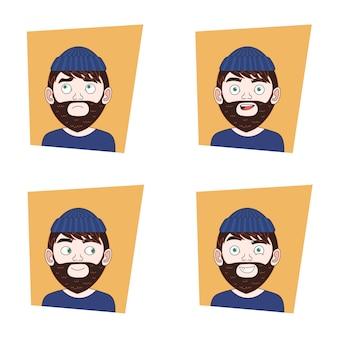 Conjunto de jovem homem de barba expressões faciais coleção de hipster cara emoções diferentes