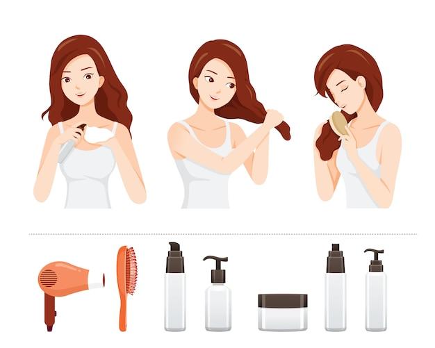 Conjunto de jovem mulher de cuidados e tratamento do cabelo com objetos de tratamento de cabelo
