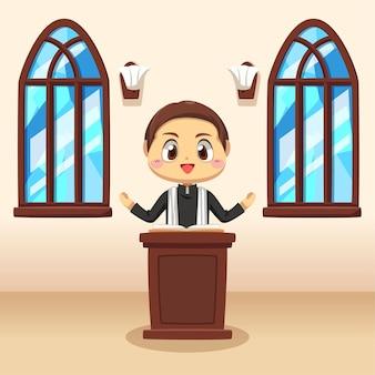 Conjunto de jovem padre católico pregando na igreja