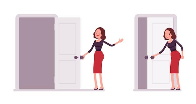 Conjunto de jovem secretária abrindo e fechando a porta