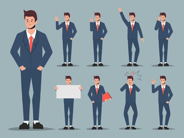 Conjunto de jovem trabalhador de escritório empresário