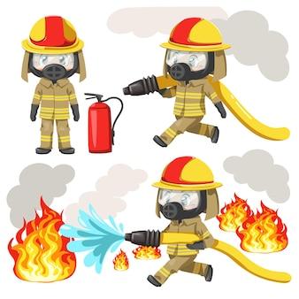 Conjunto de jovem vestindo uniforme de bombeiro e máscara de proteção tóxica segurando uma mangueira de incêndio