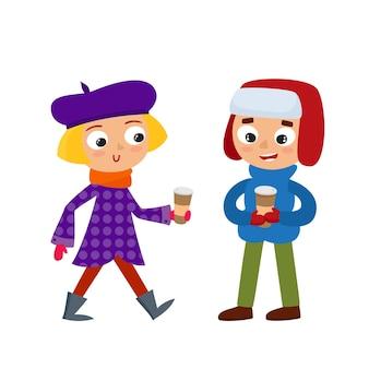Conjunto de jovens adolescentes em roupas de inverno com café, menino e menina isolado no branco. ilustração de meninos hipster em estilo cartoon.