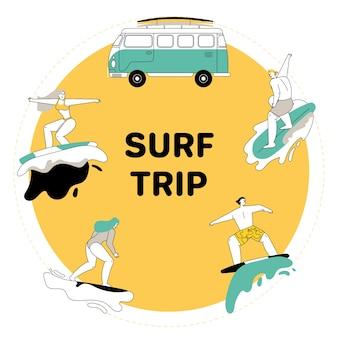Conjunto de jovens andando em pranchas de surf. homem e mulher em traje de banho montam em pranchas de surf nas ondas do oceano. van vintage campista