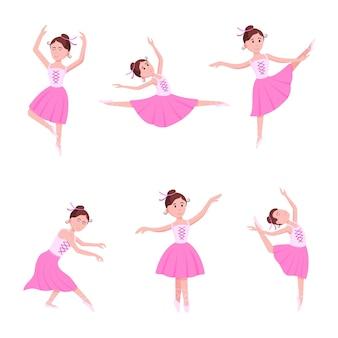 Conjunto de jovens bailarinas lindas vestidas com sapatilhas de ponta e pé na pose estilo plano