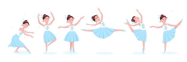 Conjunto de jovens bailarinas lindas vestidas com sapatilhas de tutu e ponta