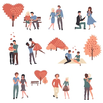 Conjunto de jovens casais no amor dos desenhos animados personagens.