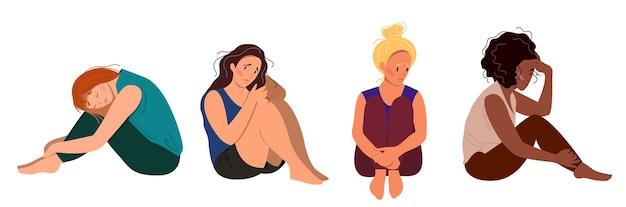 Conjunto de jovens deprimidas infelizes sentadas. mulher de diferentes etnias conceito de transtorno mental. ilustração vetorial colorida em estilo cartoon plana.