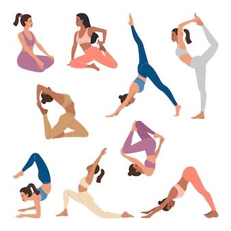 Conjunto de jovens desportistas fazendo exercícios de ioga, 9 poses diferentes de asanas.