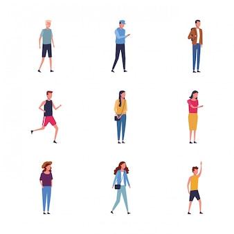 Conjunto de jovens em pé ícone