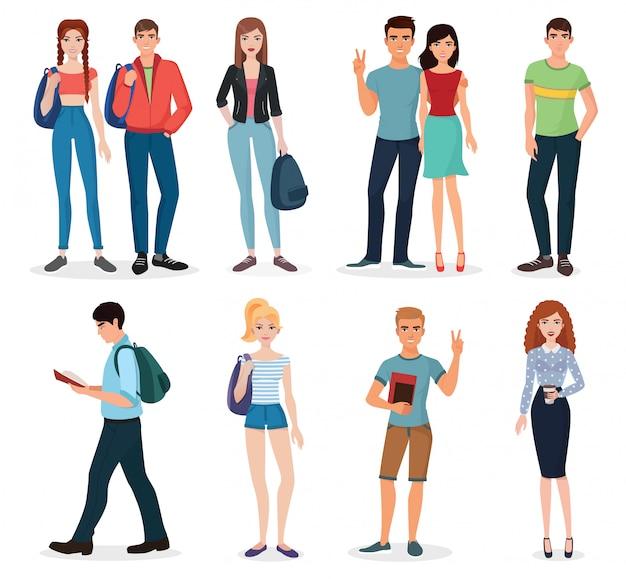 Conjunto de jovens estudantes internacionais
