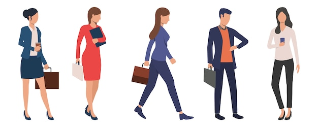 Conjunto de jovens executivos de negócios bem sucedidos