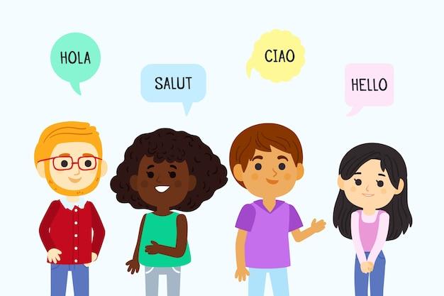 Conjunto de jovens falando em diferentes idiomas