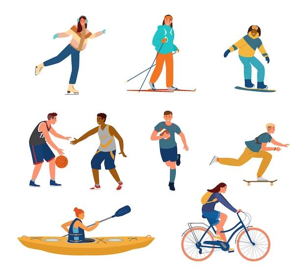 Conjunto de jovens fazendo esportes.