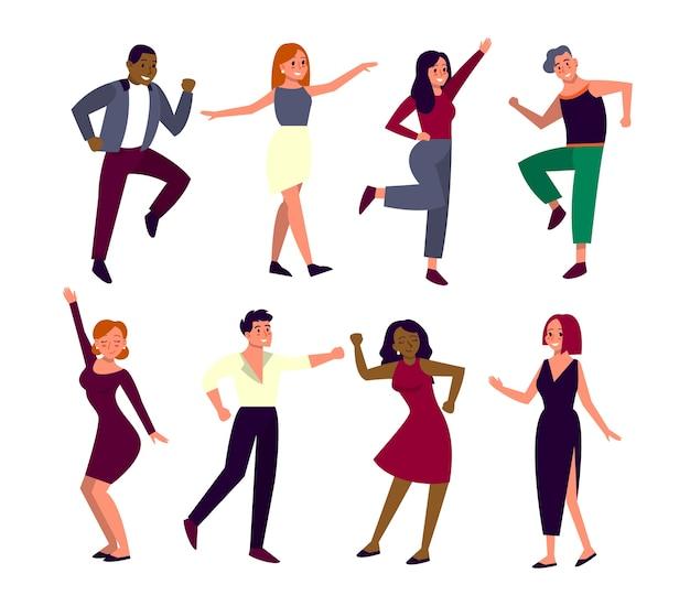 Conjunto de jovens felizes dançando. dançarinos do homem e da mulher de cheerfull. pessoas se divertindo.