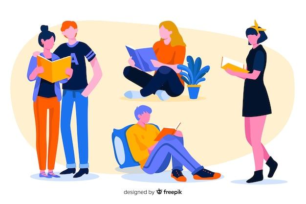 Conjunto de jovens lendo