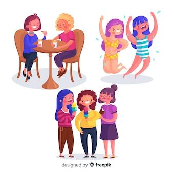 Conjunto de jovens mulheres a passar tempo juntos