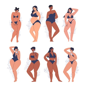 Conjunto de jovens mulheres diversas em ilustração de lingerie escura