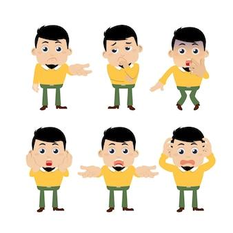 Conjunto de jovens personagens em diferentes poses