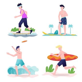 Conjunto de jovens praticando esportes de verão