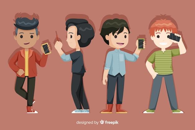 Conjunto de jovens rapazes segurando smartphones