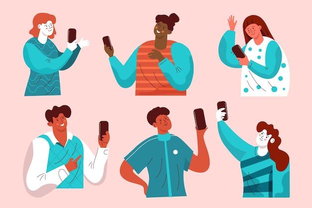 Conjunto de jovens usando smartphones