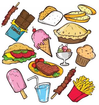Conjunto de junk food em estilo doodle