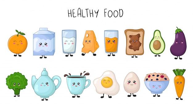 Conjunto de kawaii alimentos saudáveis - frutas, legumes, leite, mingau, ovo