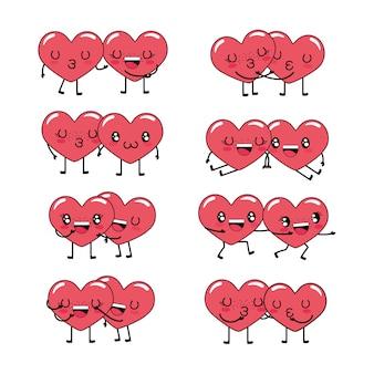 Conjunto de kawaii corações casal personagem juntos