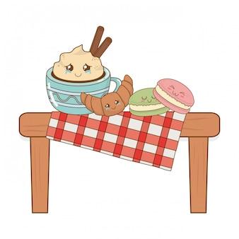 Conjunto de kawaii de comida de padaria na mesa de piquenique
