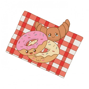 Conjunto de kawaii de comida de padaria na toalha de mesa de piquenique