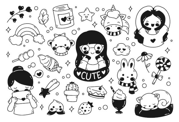 Conjunto de kawaii doodle isolado no branco