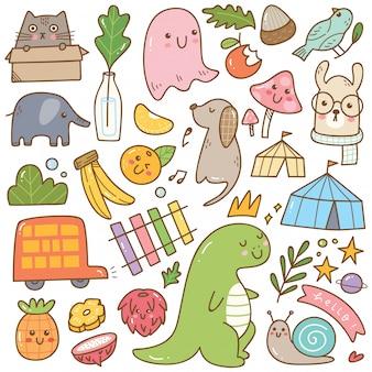 Conjunto de kawaii doodles isolado no branco