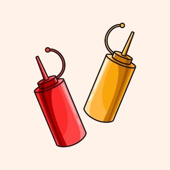 Conjunto de ketchup com molho fofo, maionese e mostarda