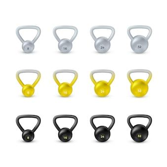Conjunto de kettlebell preto realista. equipamentos para musculação e ginástica.
