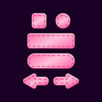 Conjunto de kit de botão rosa brilhante da interface do usuário