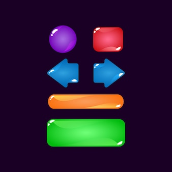 Conjunto de kit de botões de geléia simples colorido da interface do usuário