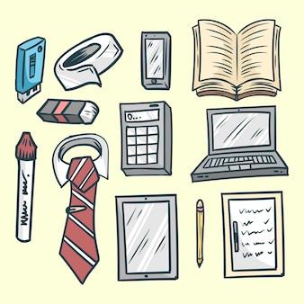 Conjunto de kit de escritório desenhado à mão