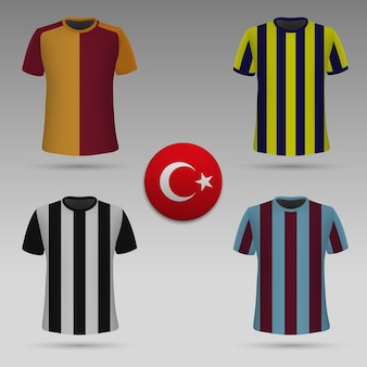 Conjunto de kit de futebol dos clubes turcos, modelo de camiseta. camisa de futebol Vetor Premium