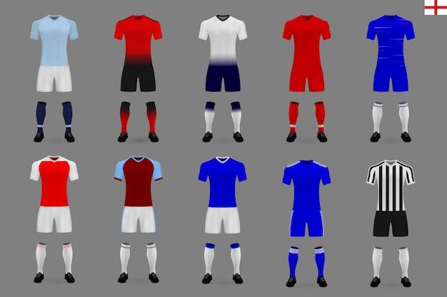Conjunto de kit de futebol inglês