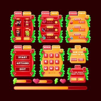 Conjunto de kit de interface do usuário de jogo de tabuleiro de natal